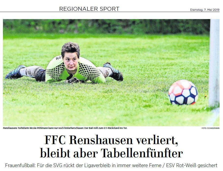 Eichsfelder Tageblatt 07.05.2019: Frauen-Fußball Oberliga FFC Renshausen vs Eintracht Braunschweig (1:4)