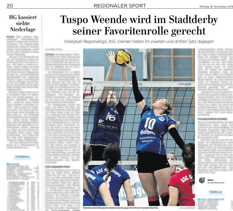 Göttinger Tageblatt. Handball Oberliga. Tuspo Weende vs ASC Göttingen