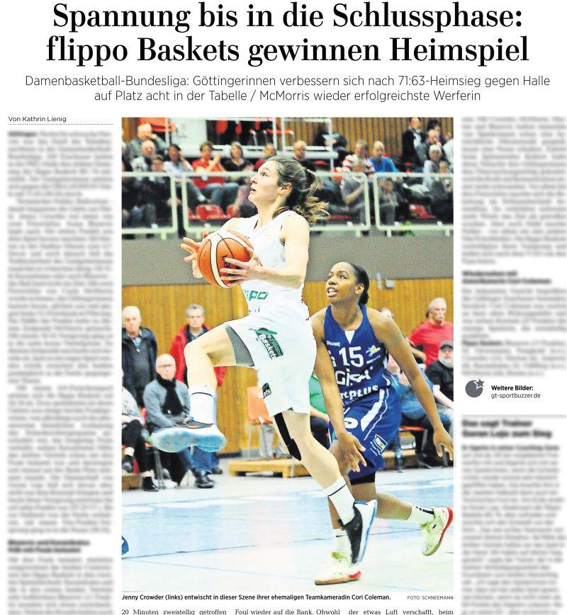 Göttinger Tageblatt. Basketball Bundesliga, DBBL flippo Baskets Göttingen vs Gisa Lions Halle