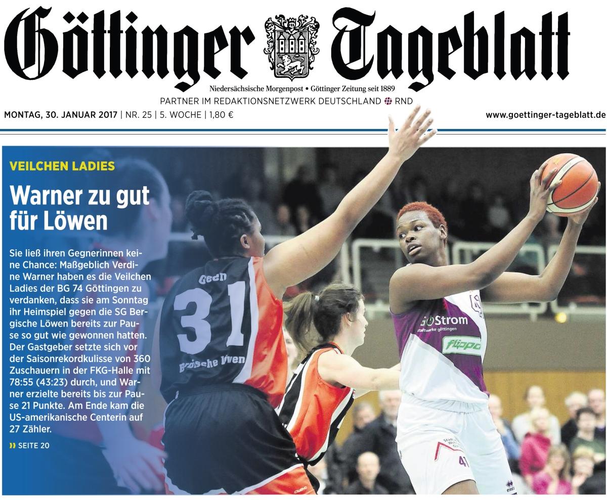 Titelfoto Göttinger & Eichsfelder Tagebaltt: 2.Damen-Baskeball-Bundesliga: BG Göttingen vs SG Bergische Löwen