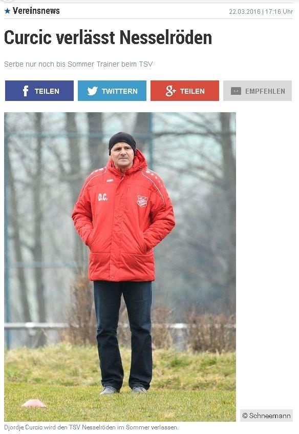 """Screenshot GT-Sportbuzzer zur Trainer""""Entlassung"""" beim TSV Nesselröden"""