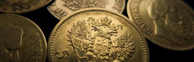 Einige Goldmünzen aus Deutschland, Russland und Frankreich