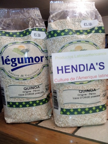 Quinoa a: 3 euro 90 TTC Los 500 gramos