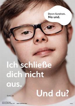 """Eines von 5 Plakatsujets von """"Down-Syndrom. Na und."""""""