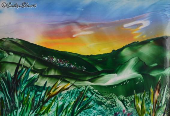 """Evelyn Ehnert Enkaustic / Titel: """"Tal der Sonne"""" Größe - Postkarte_Bild_Zeichnung"""