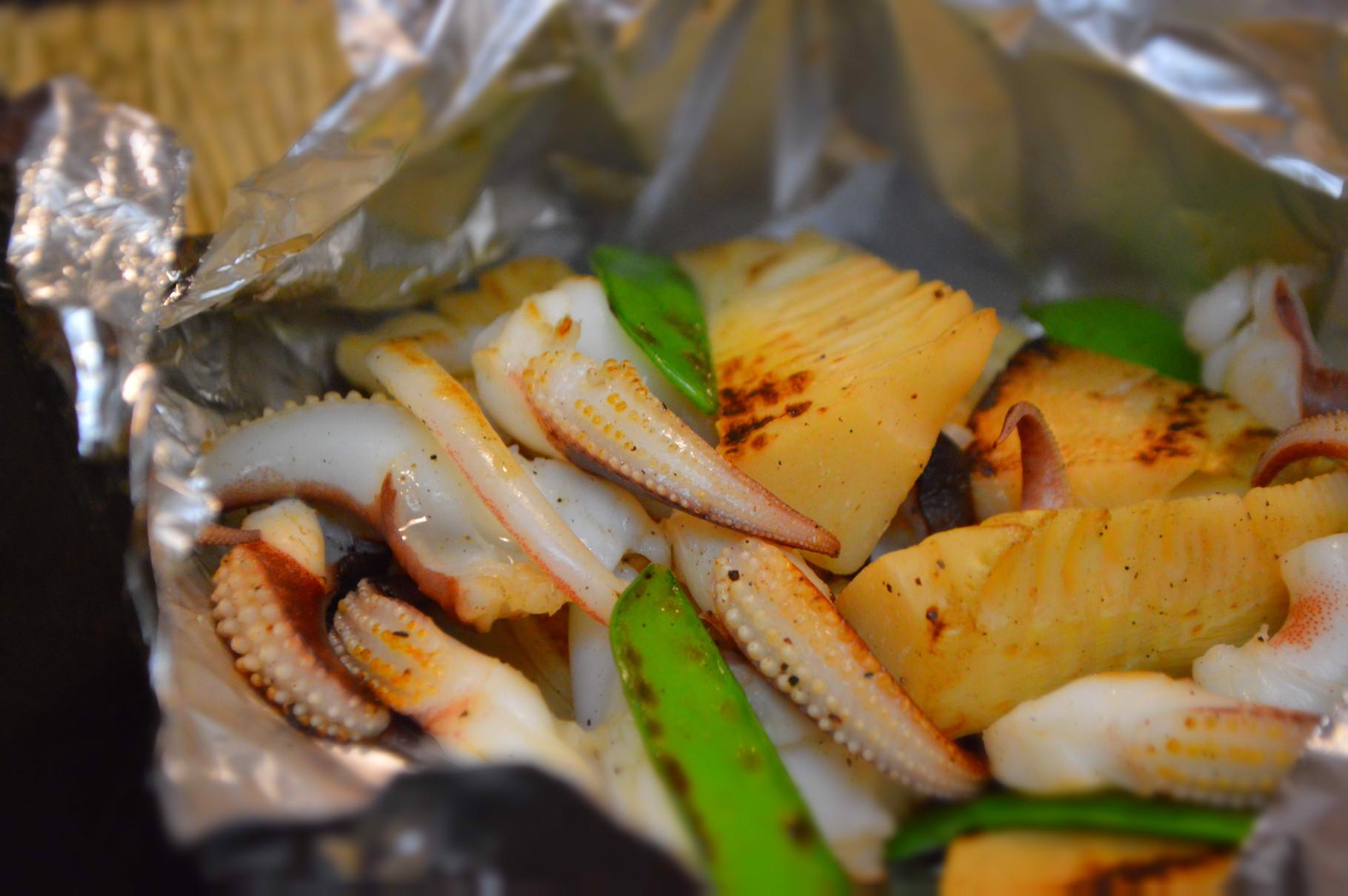 いかゲソと竹の子の塩バターホイル焼き