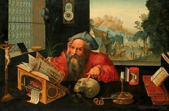 """Pieter Coecke van Aelst (1502-1550): """"St. Hieronymus in seinem Studierzimmer"""". Hieronymus war der Verfasser der 'Vulgata', lange Zeit DIE maßgebliche Bibelübersetzung ins Lateinische. van Aelst, selbst als Übersetzer tätig, malte sein Vorbild um 1530.."""
