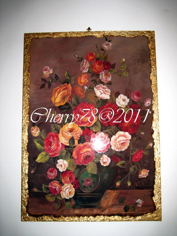 Tela 50x70, fiori fiammingo, bordo materico foglia oro anticata a bitume, finitura flatting gel