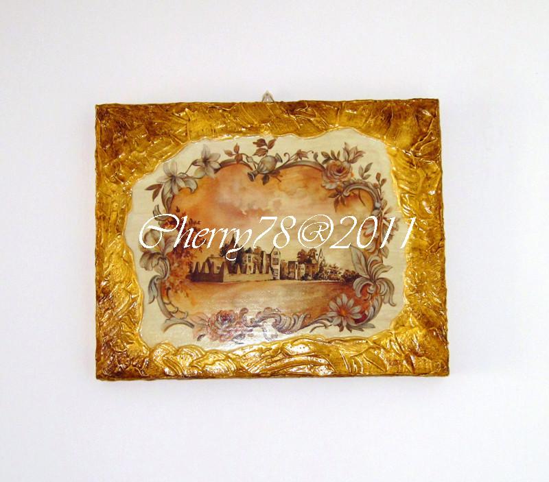 Tela 20x30, bordo materico acrilico oro invecchiato a bitume