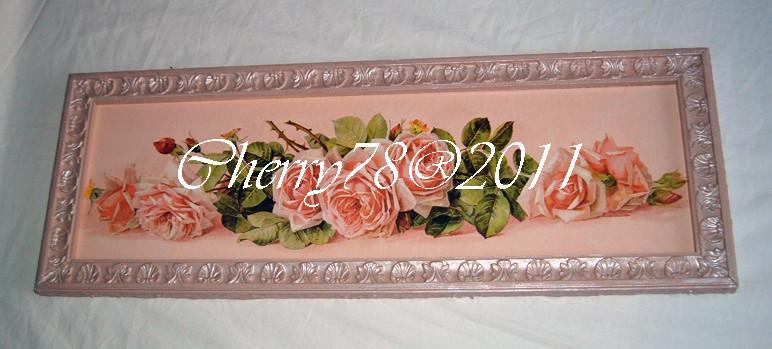 Tela 30x90, rose , cornice acrilico rosa antico e bianco perla  , finale flatting gel