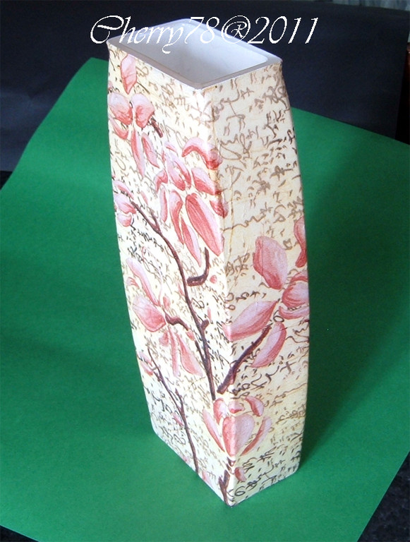 Vaso soggetto orchidea giapponese, coordinato al vassoio, carta di riso e flatting gel