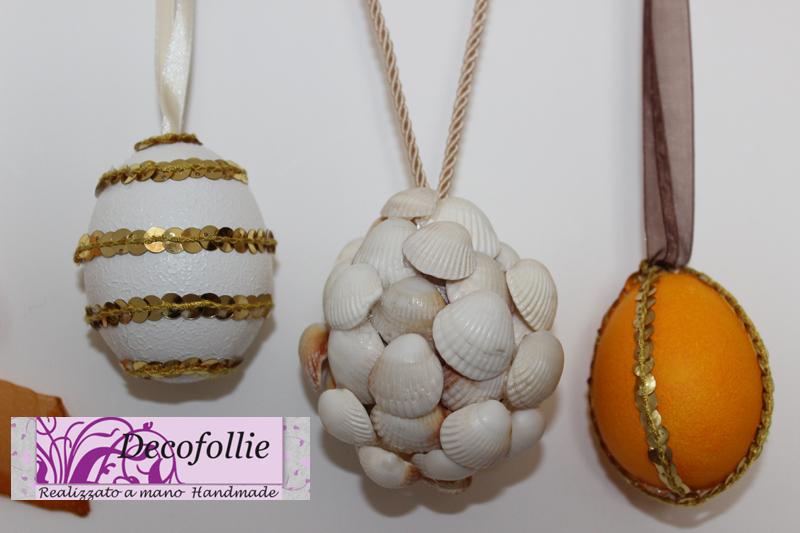 uova realizzate con colori acrilici, paiettes e conchiglie