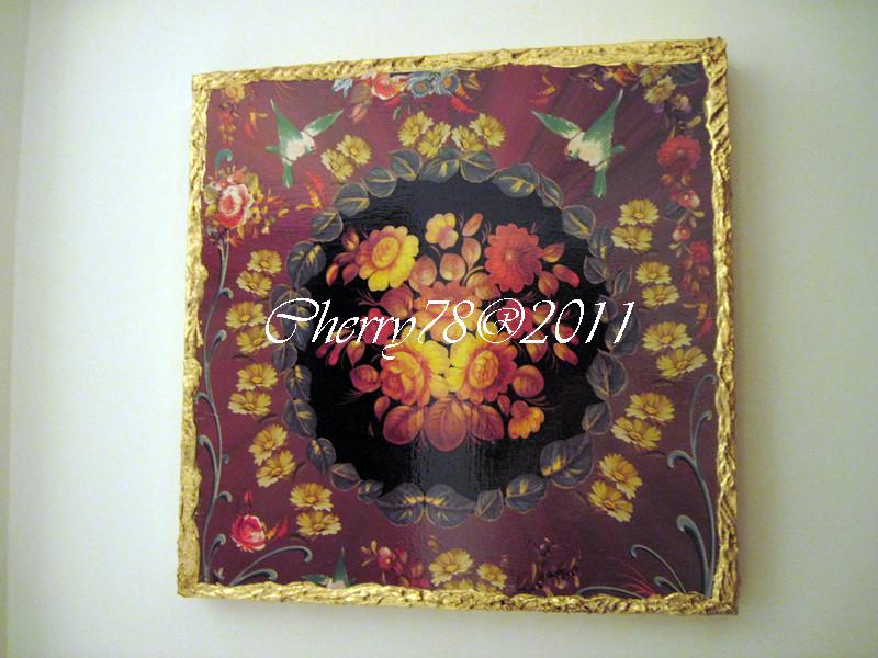 Tela 50x50, soggetto floreale, bordo materico foglia oro, flatting gel