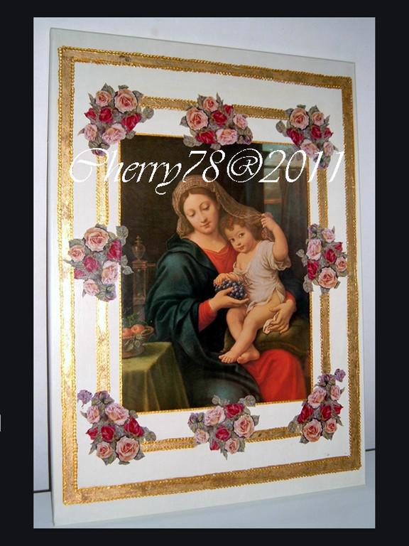 Tela 50x70 madonna con bambino, bordi oro rilievo
