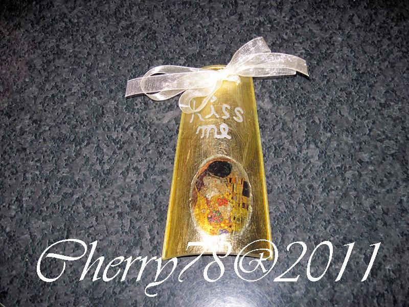 Mini tegola di vetro, bacio di Klimt su foglia oro