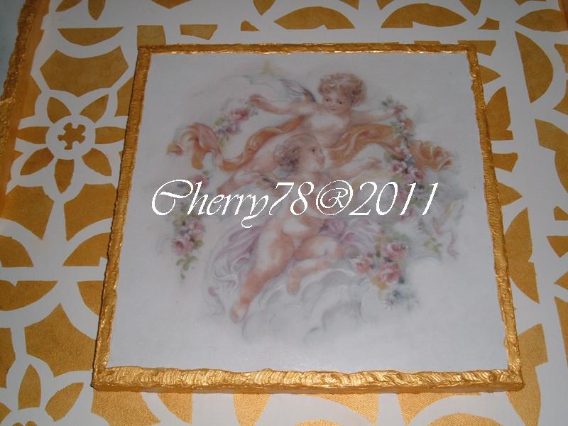 Tela 30x30, angeli con bordo materico acrilico oro