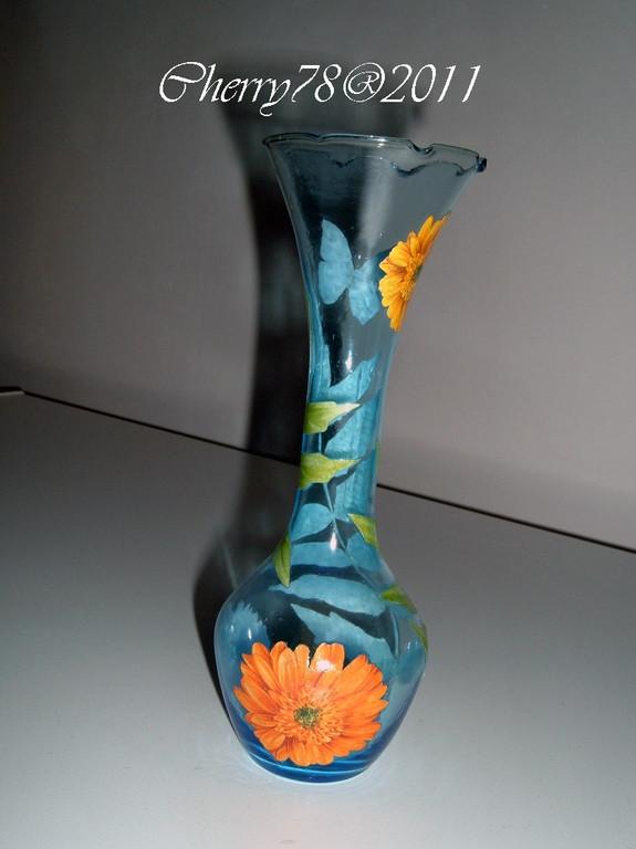 Vaso vetro carta decoupage, finale cristal duck