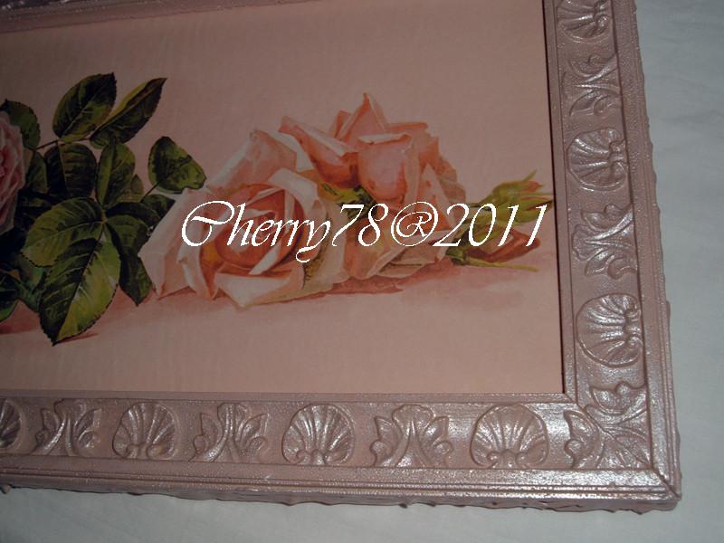 Particolare  tela 30x90, rose , cornice acrilico rosa antico e bianco perla , finale flatting gel