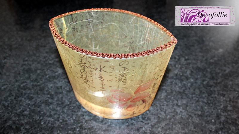 Vaso basso orchidea giapponese, coordinato al vassoio, carta di riso e flatting