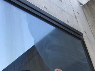 ミラーガラスの汚れ除去テスト