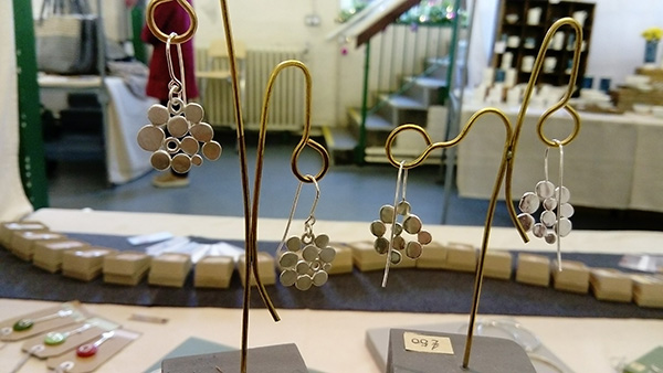 contemporary sterling silver earing jewellery at Charlotte Whitmore at the Art Market Nov 16