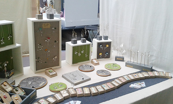 Charlotte Whitmore contemporary jewellery stand at the Art Market Holmfirth