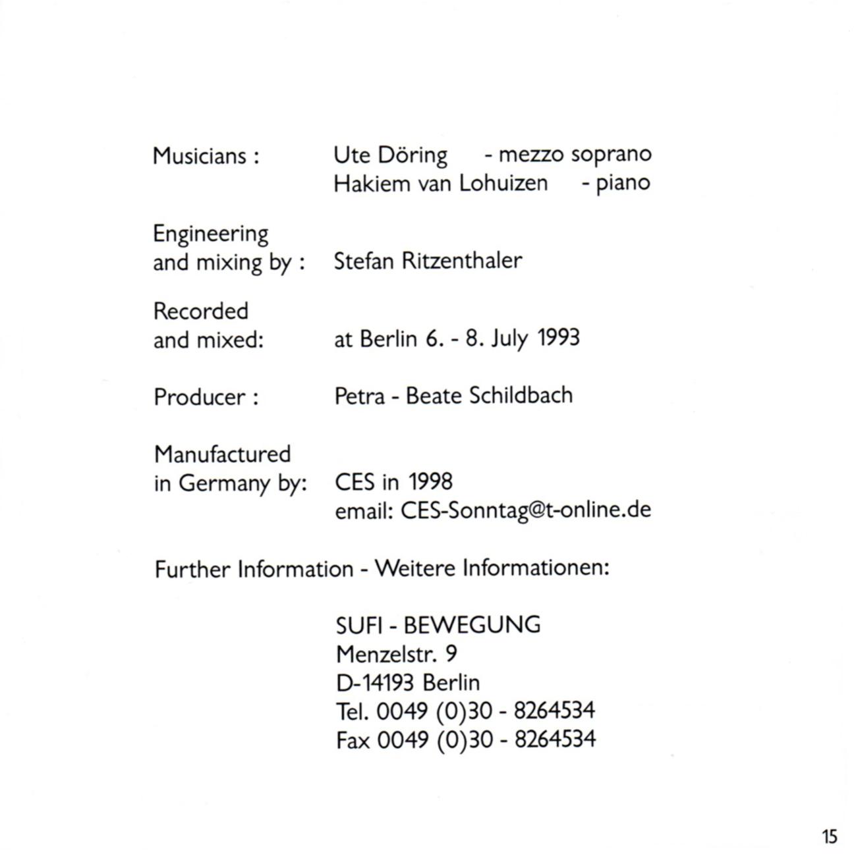 Sufi Songs: Music by Maheboob Khan to Poems of Hazrat Inayat Khan, Sufi-Bewegung   Verlag Heilbronn