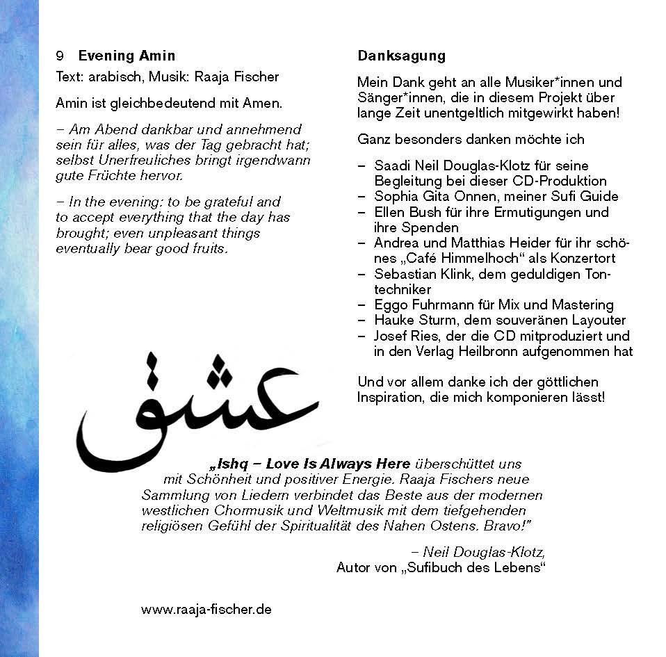 ISHQ - Sufi Songs von Raaja Hakim Fischer | Verlag Heilbronn