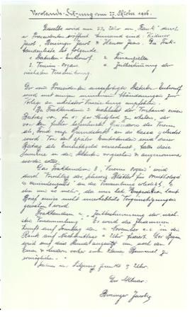 Vorstands-Sitzung vom 27. 10. 1906