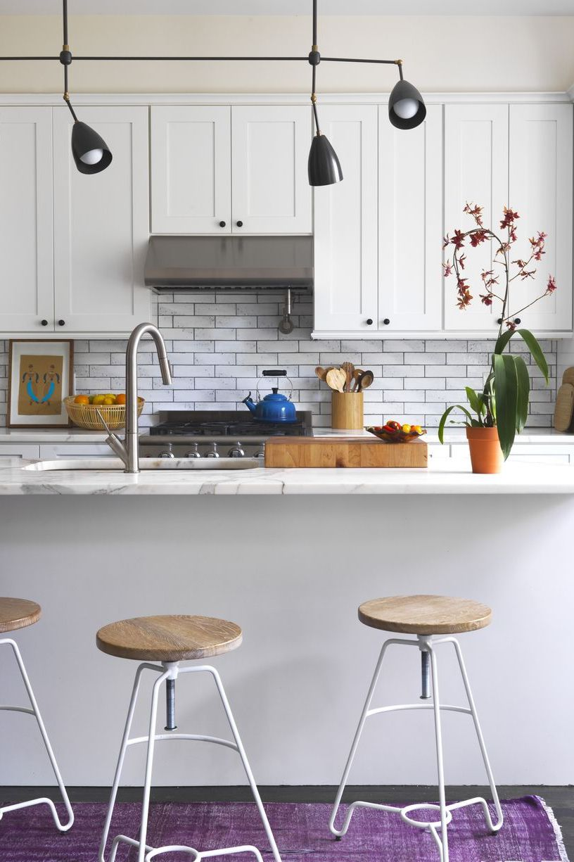 All-White Kitchen With Vibrant Accents