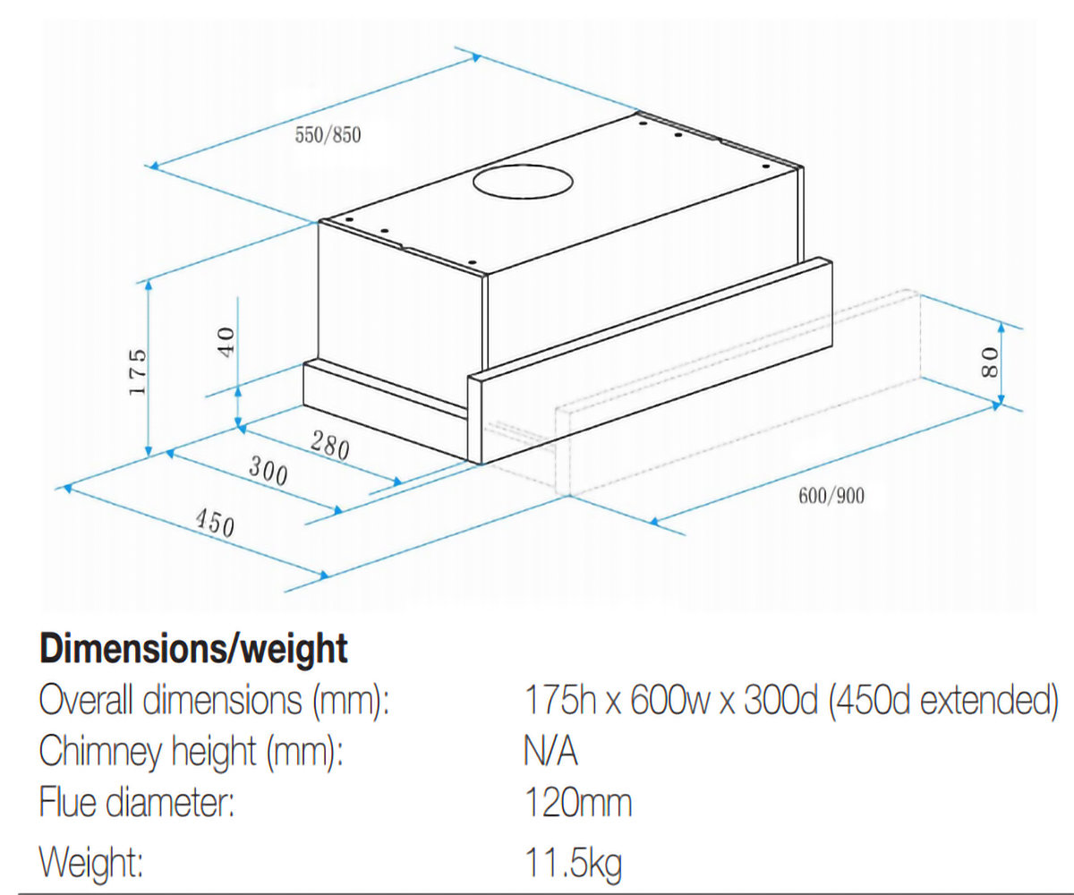 Slideout Rangehood Dimensions