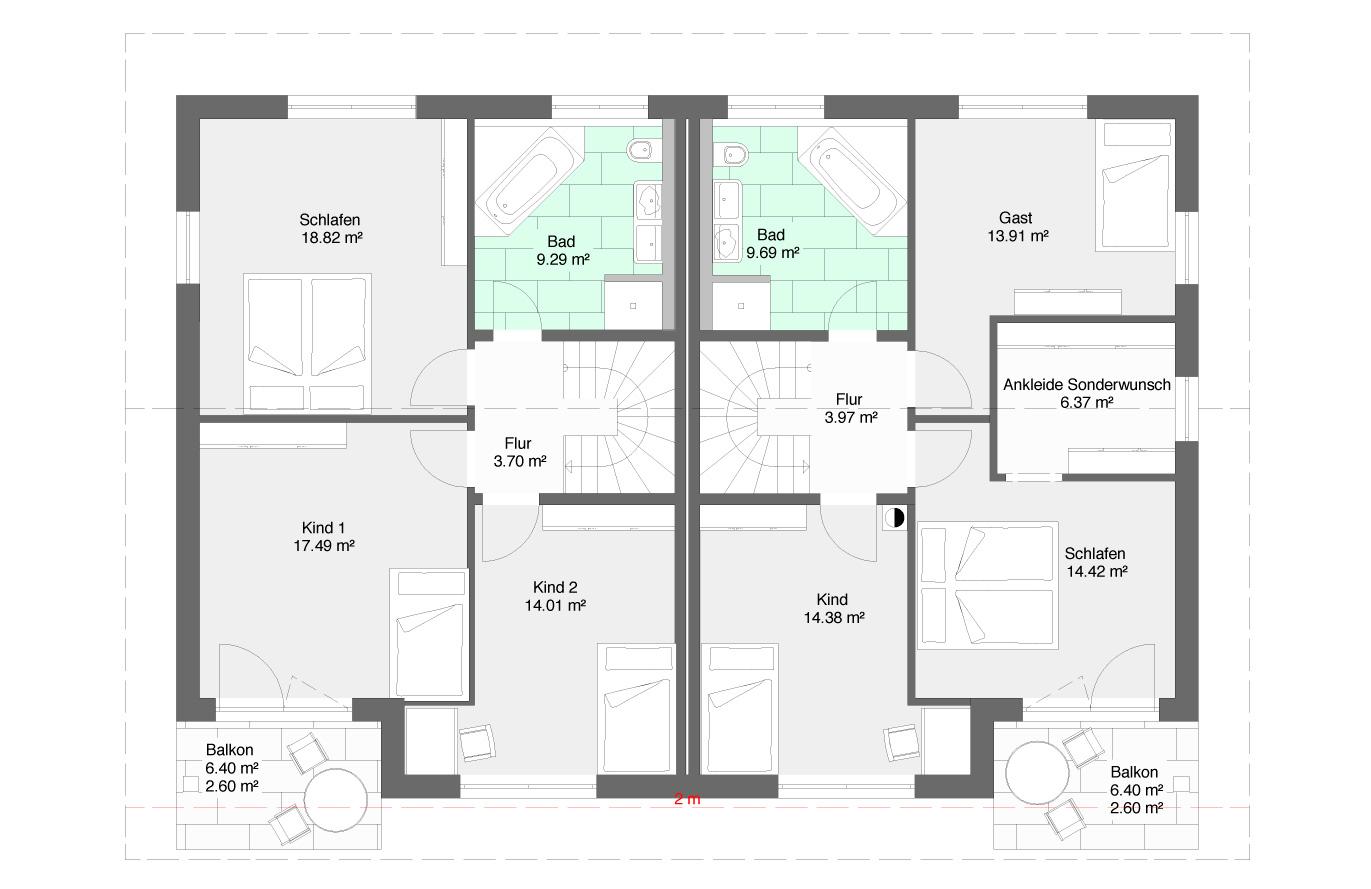Doppelhaushälfte Variante 3 Obergeschoss