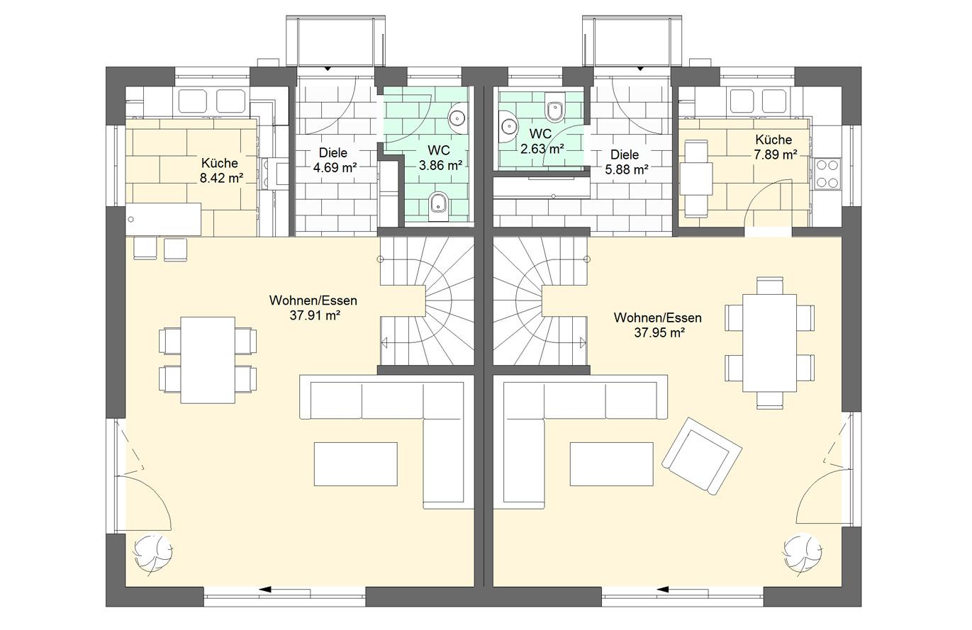 Doppelhaushälfte Variante 1 Erdgeschoss