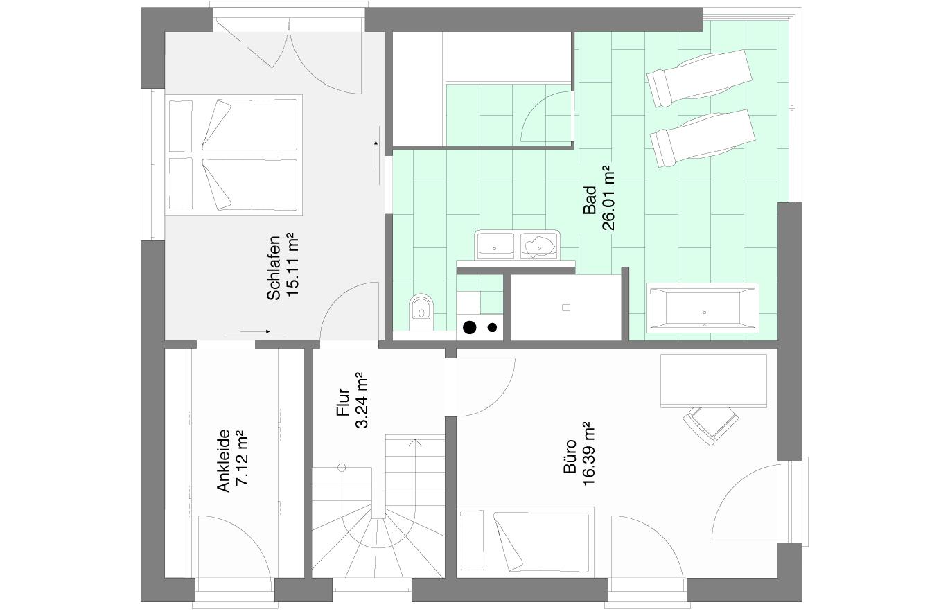 Einfamilienhaus Variante 6 Obergeschoss