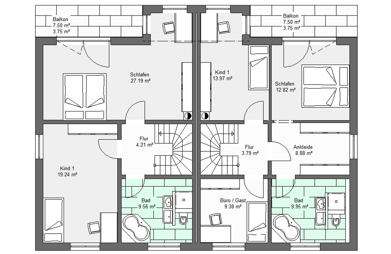 Doppelhaushälfte Variante 2 Obergeschoss
