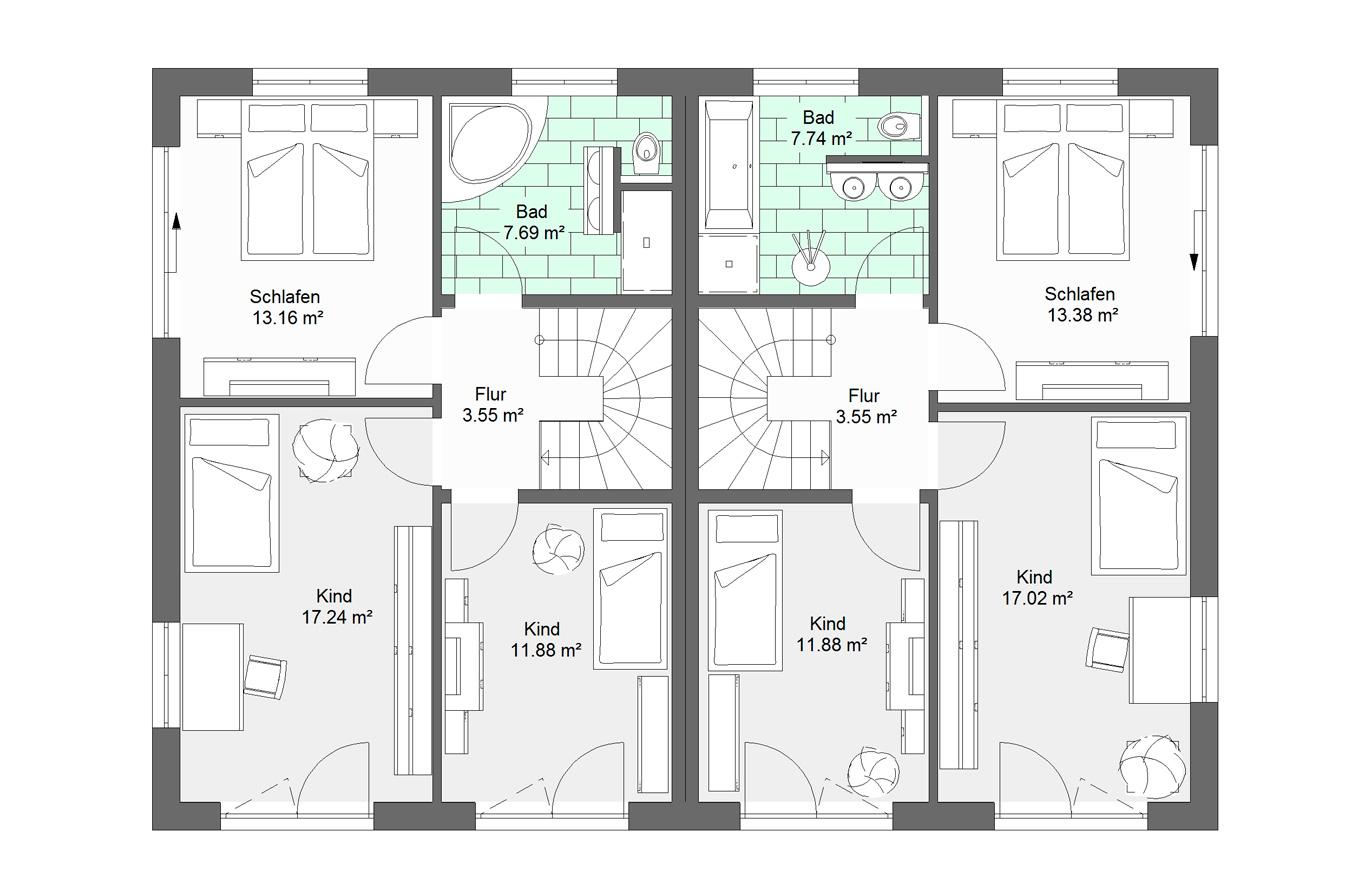 Doppelhaushälfte Variante 1 Obergeschoss