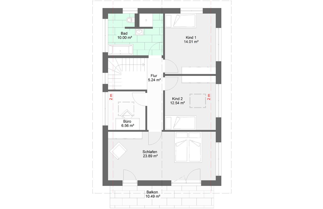 Einfamilienhaus Variante 3 Obergeschoss