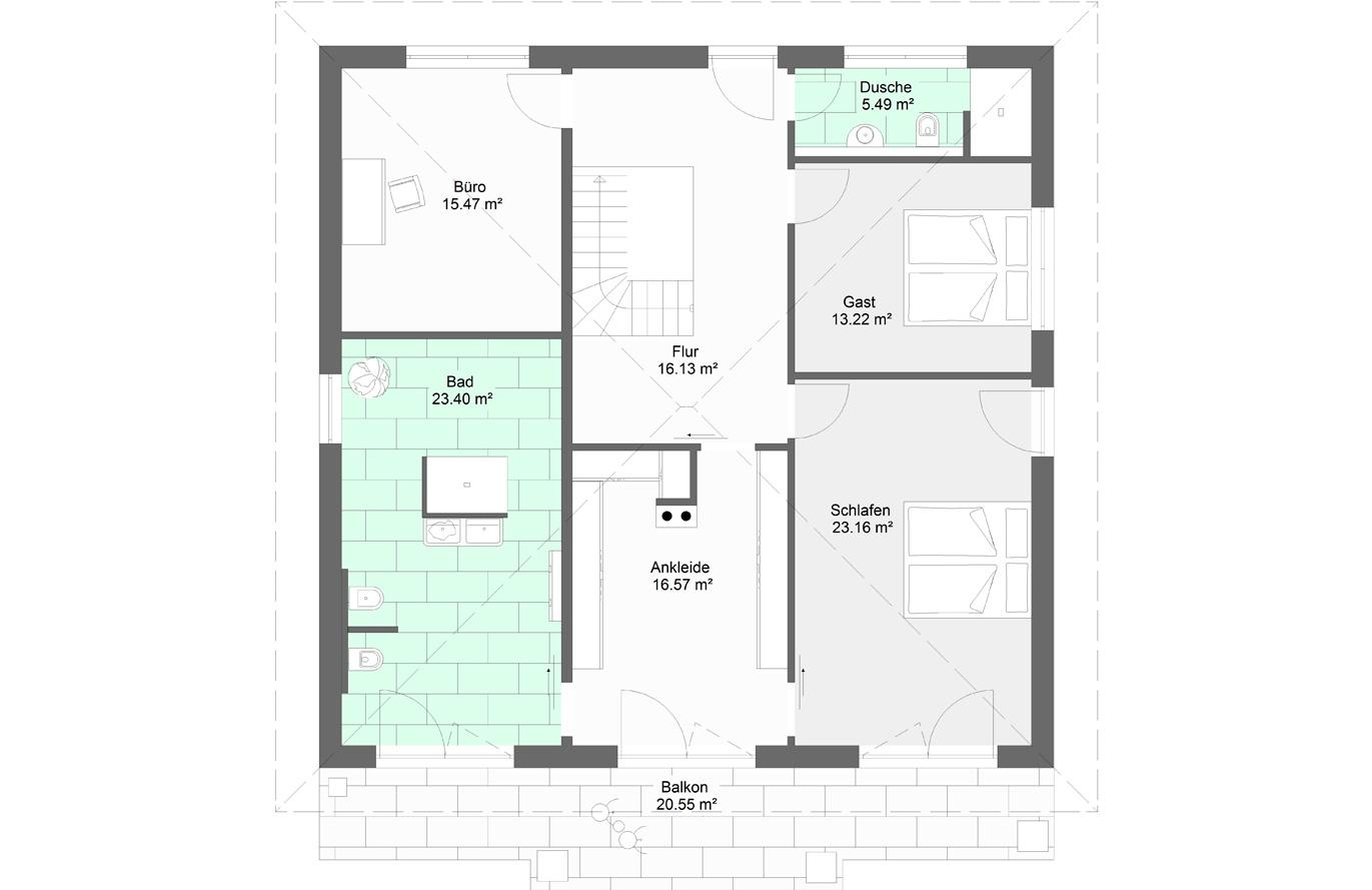 Einfamilienhaus Variante 10 Obergeschoss
