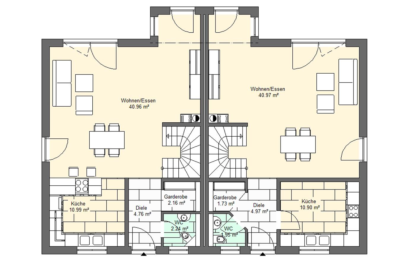 Doppelhaushälfte Variante 2 Erdgeschoss