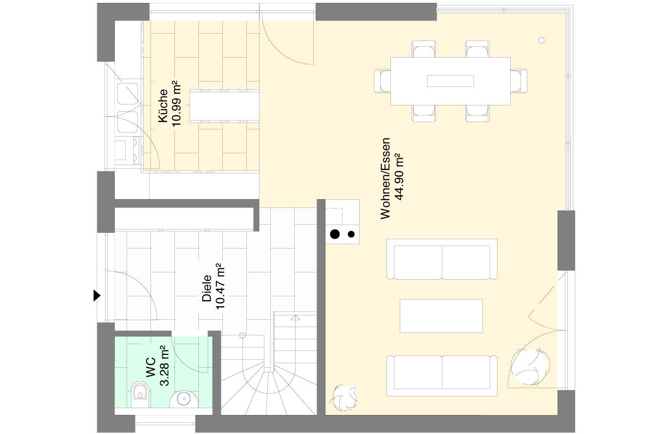 Einfamilienhaus Variante 6 Erdgeschoss