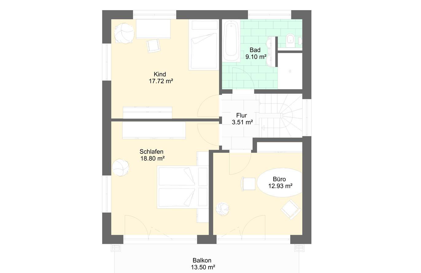 Einfamlienhaus Variante 4 Obergeschoss