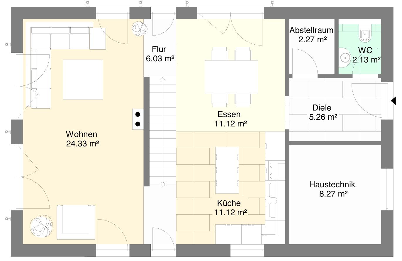 Einfamilienhaus Variante 1 Erdgeschoss