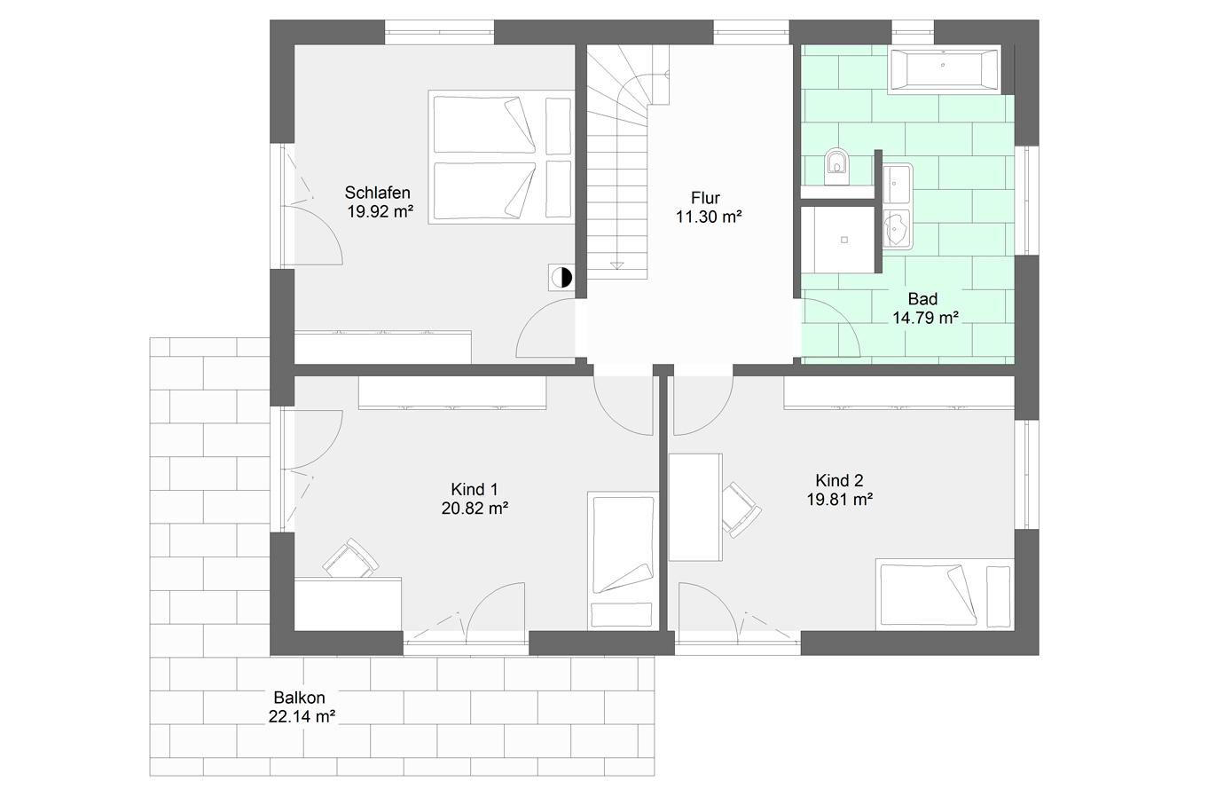 Einfamilienhaus Variante 8 Obergeschoss