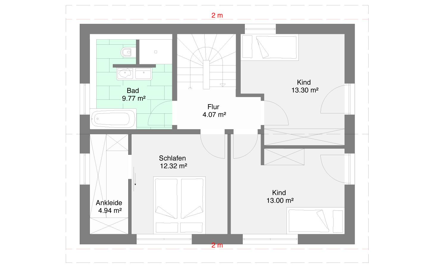 Einfamlienhaus Variante 2 Obergeschoss