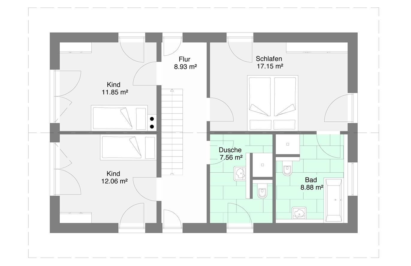 Einfamilienhaus Variante 1 Obergeschoss