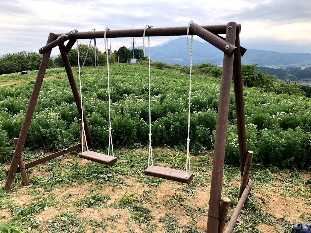 カモミール畑にブランコ設置