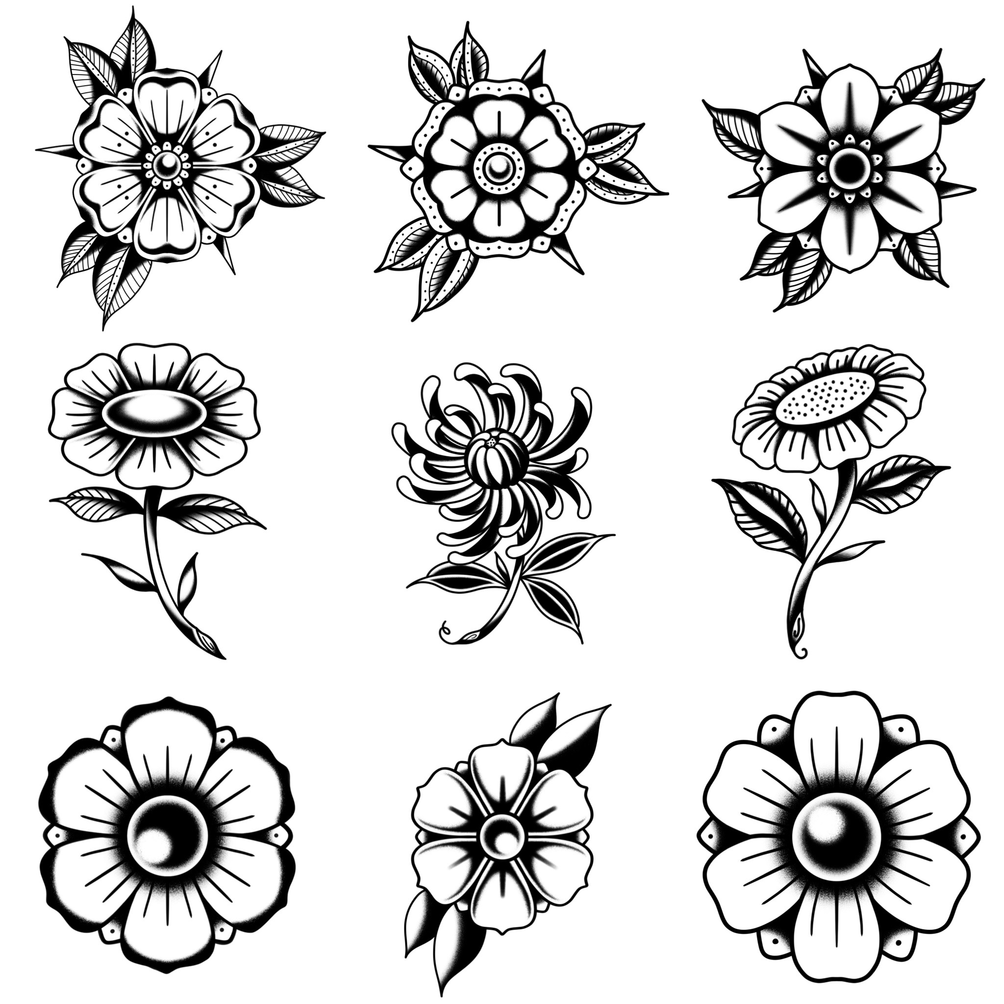 ブラックトラディショナル トラディショナル定番の花モチーフのデザイン タトゥーデザイン トラディショナル 《東京タトゥースタジオ》