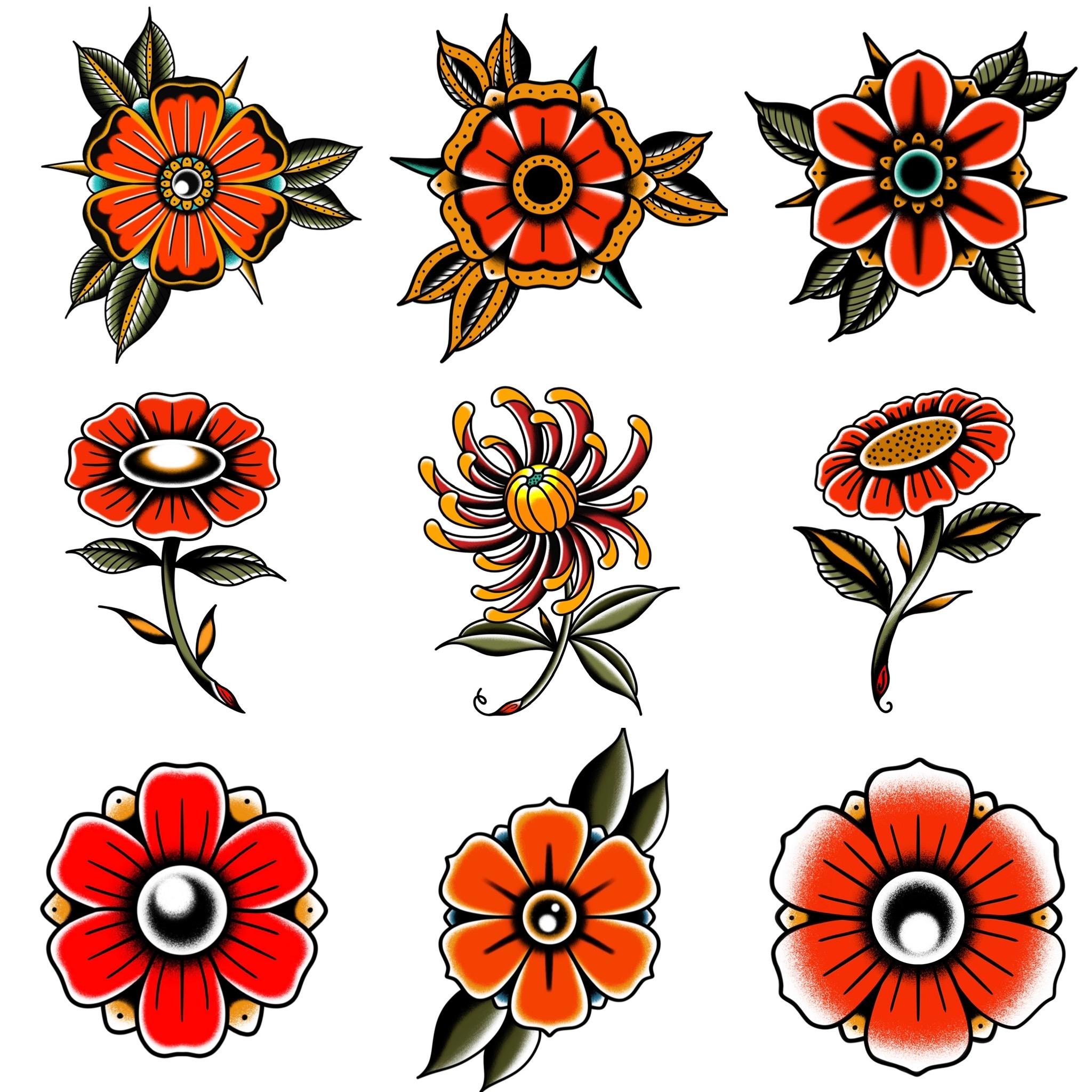トラディショナル定番の花モチーフのデザイン タトゥーデザイン トラディショナル 《東京タトゥースタジオ》