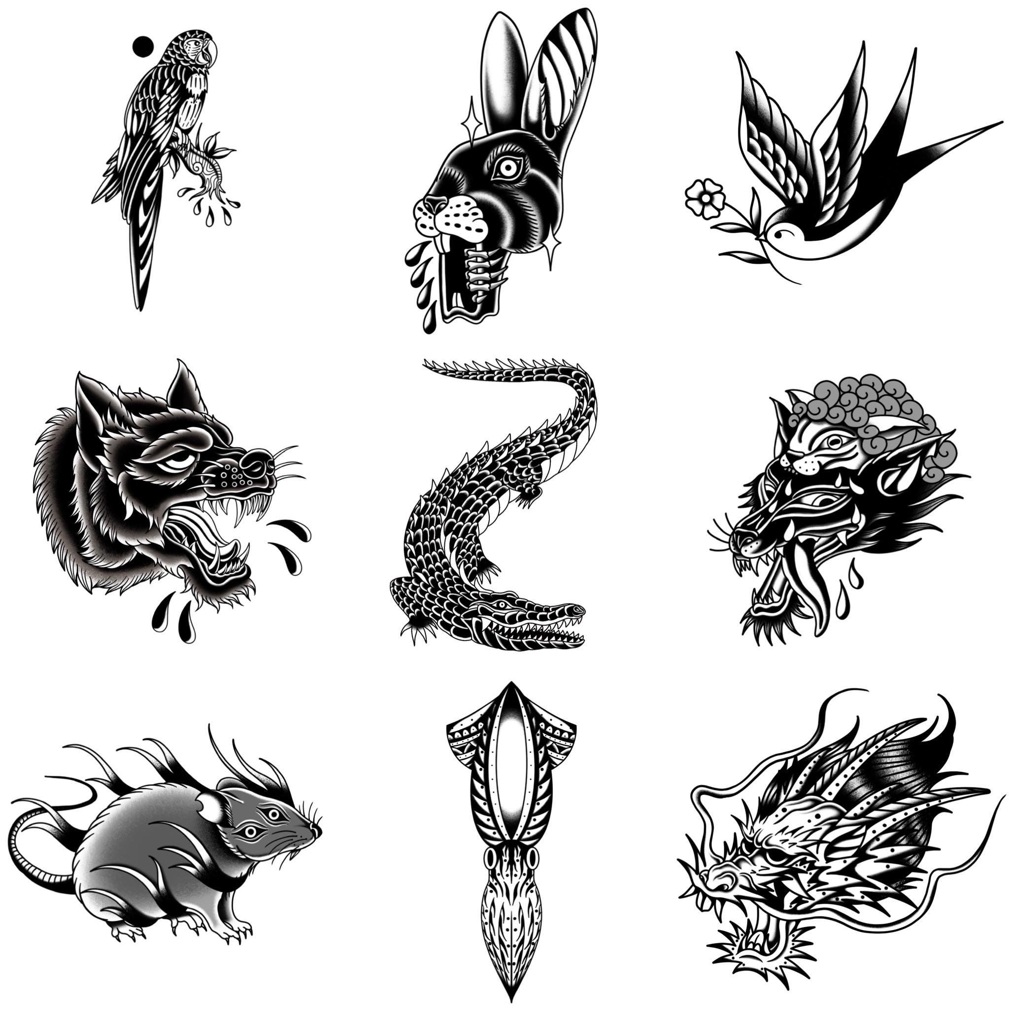 ブラックトラディショナル 生物系のトラディショナルデザイン タトゥーデザイン トラディショナル 《東京タトゥースタジオ》