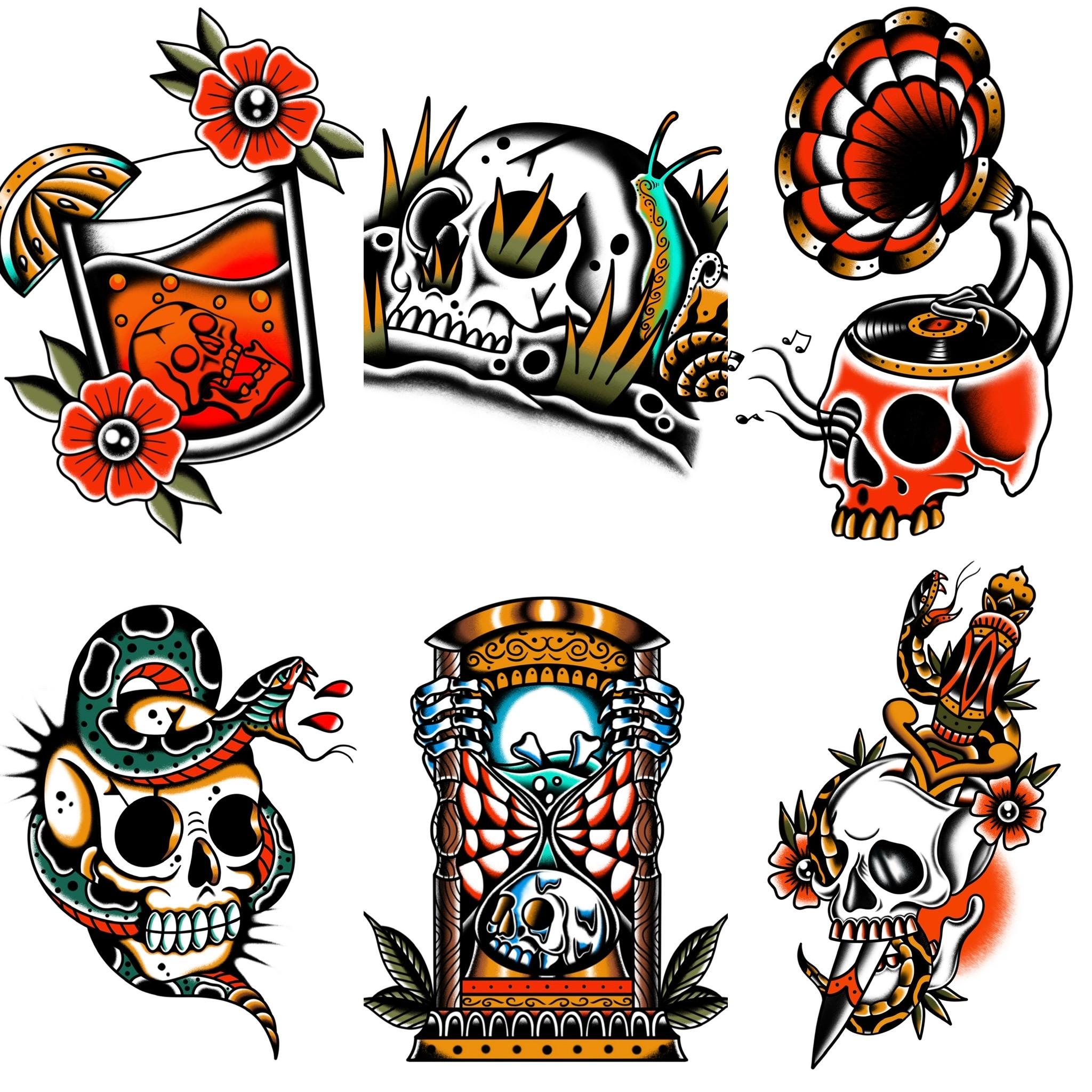 トラディショナル定番のスカルデザイン タトゥーデザイン トラディショナル 《東京タトゥースタジオ》